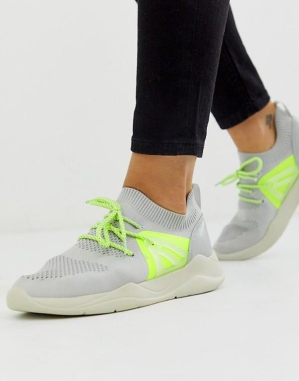 エイソス レディース スニーカー シューズ ASOS DESIGN Discipline knitted sneakers in gray Gray