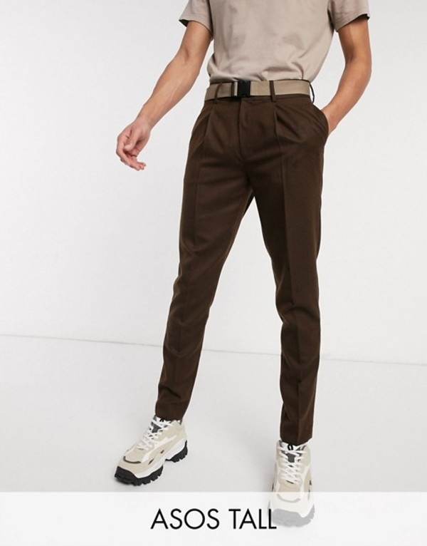 エイソス メンズ カジュアルパンツ ボトムス ASOS DESIGN Tall slim crop smart pants with contrast belt and clip in brown texture Brown