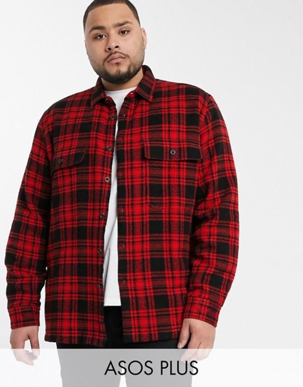 エイソス メンズ シャツ トップス ASOS DESIGN Plus regular quilted overshirt in red Red