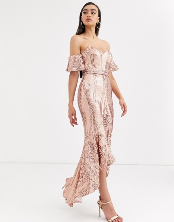 バリアーノ レディース ワンピース トップス Bariano bardot midi sequin dress with dip hem in rose gold Rose gold