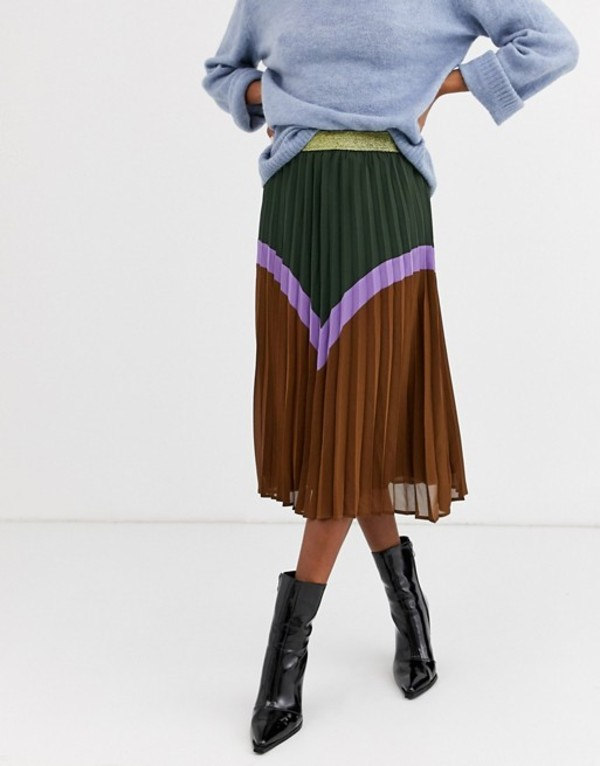 イチ レディース スカート ボトムス Ichi chevron color block skirt with gold waistband Duffel bag