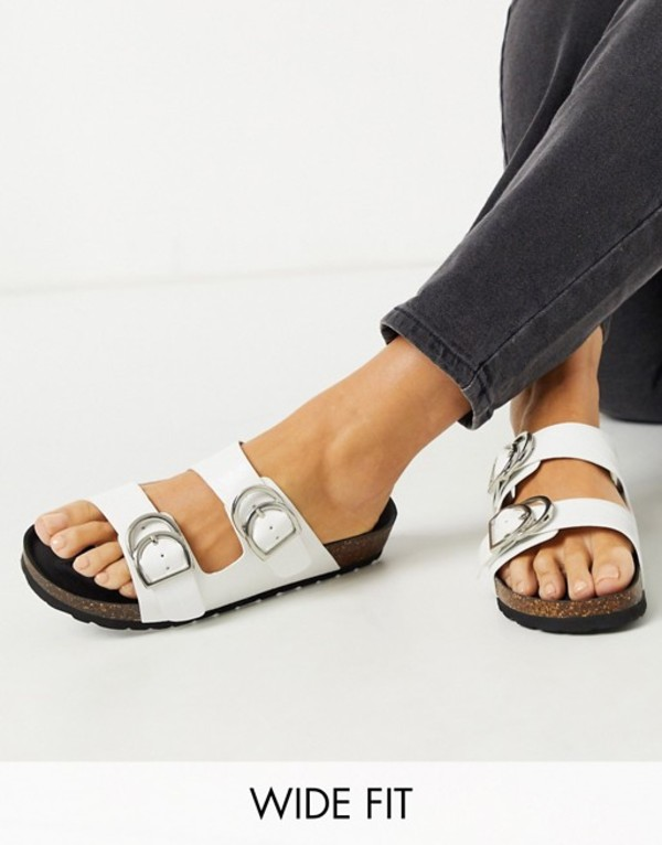 ロンドンレベル レディース サンダル シューズ London Rebel wide fit double buckle footbed sandal in white croc White matte croc