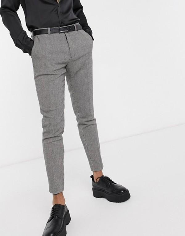 エイソス メンズ カジュアルパンツ ボトムス ASOS DESIGN super skinny smart pants in monochrome dog tooth Black