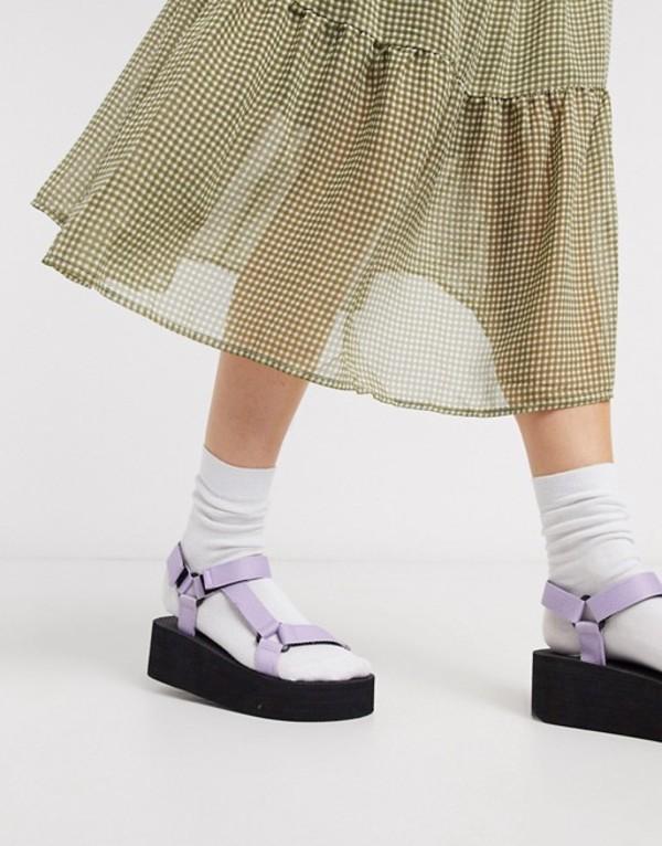 トリュフコレクション レディース サンダル シューズ Truffle Collection sporty flatform sandal in lilac Lilac/black sole
