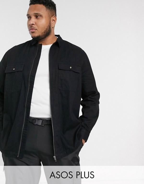 エイソス メンズ シャツ トップス ASOS DESIGN Plus zip through denim overshirt with double pockets Black