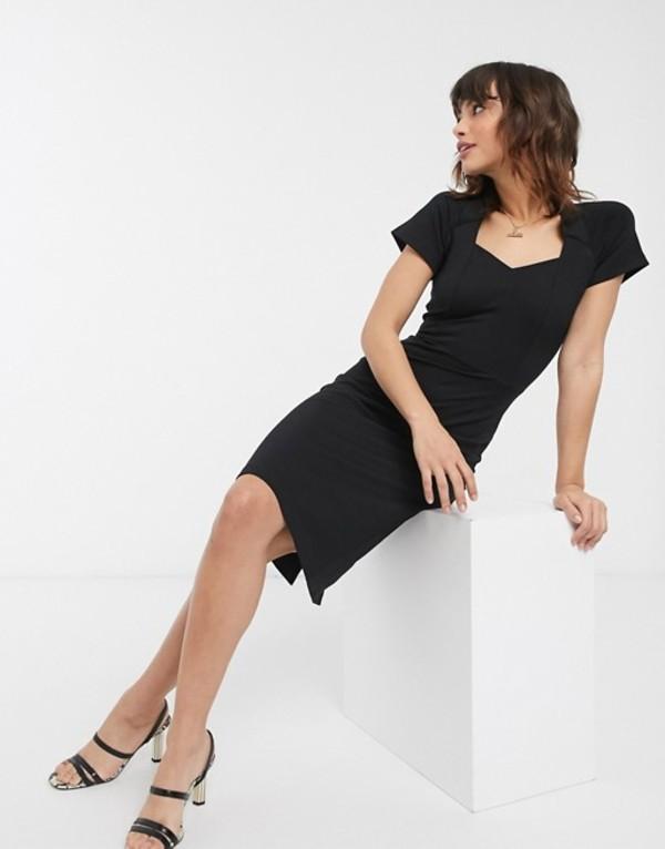 フレンチコネクション レディース ワンピース トップス French Connection twist neck midi dress Black
