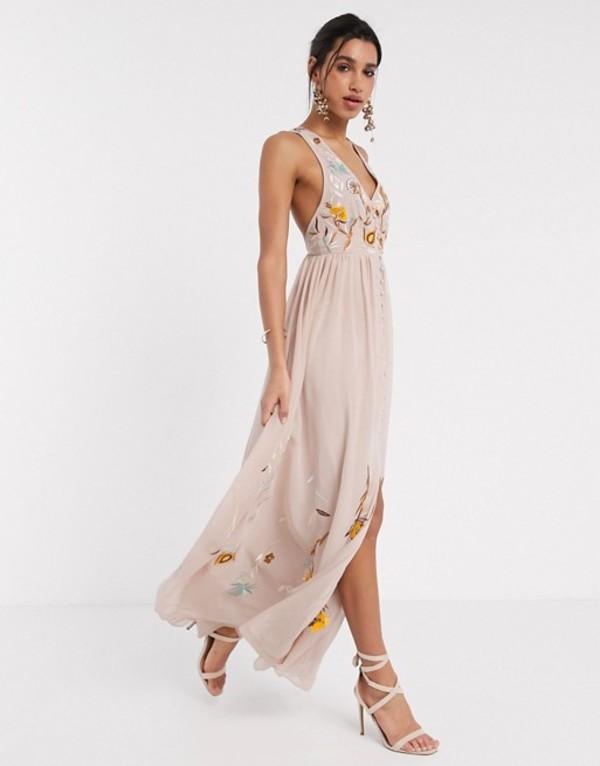 フロック レディース ワンピース トップス Frock & Frill embroidered button front maxi dress in light pink Blush