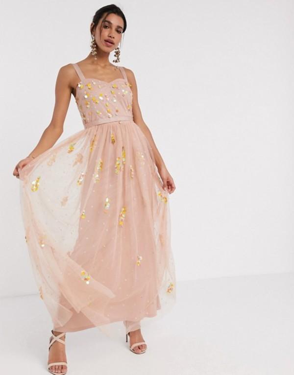 フロック レディース ワンピース トップス Frock & Frill sequin tulle maxi dress in blush Blush