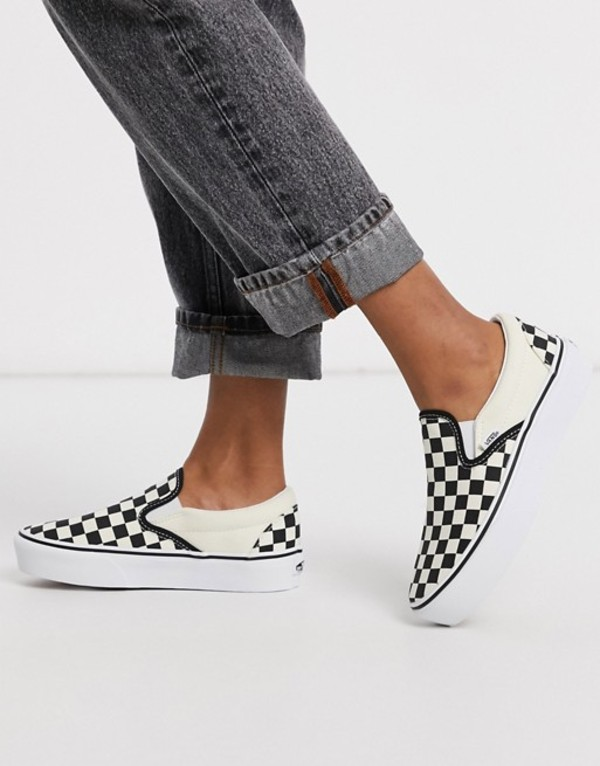 バンズ レディース スニーカー シューズ Vans Classic Slip-On Platform sneakers in checkerboard Black