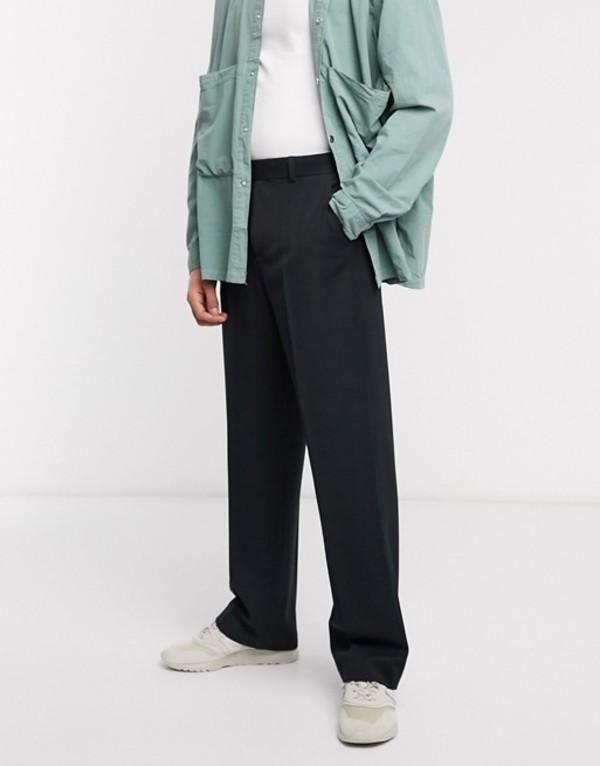 エイソス メンズ カジュアルパンツ ボトムス ASOS DESIGN heavyweight wide leg smart pants in black Black