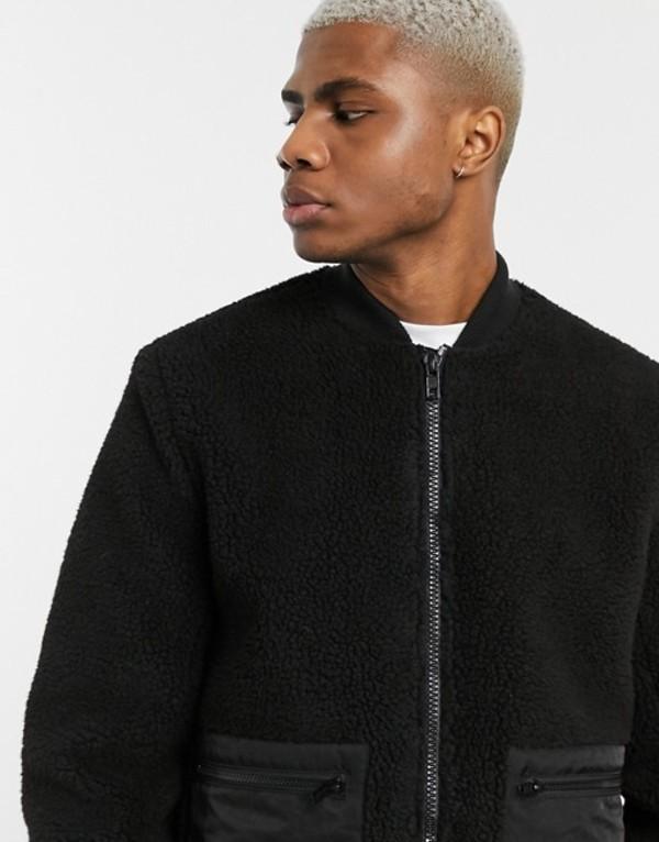 エイソス メンズ ジャケット・ブルゾン アウター ASOS DESIGN teddy bomber jacket in black Black