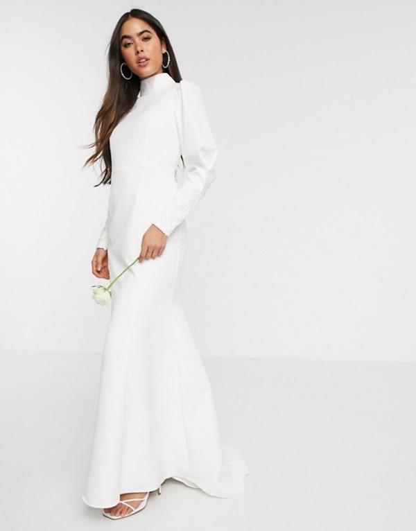 ワイエーエス レディース ワンピース トップス Y.A.S Wedding highneck fishtail dress with embellished cuffs in white White