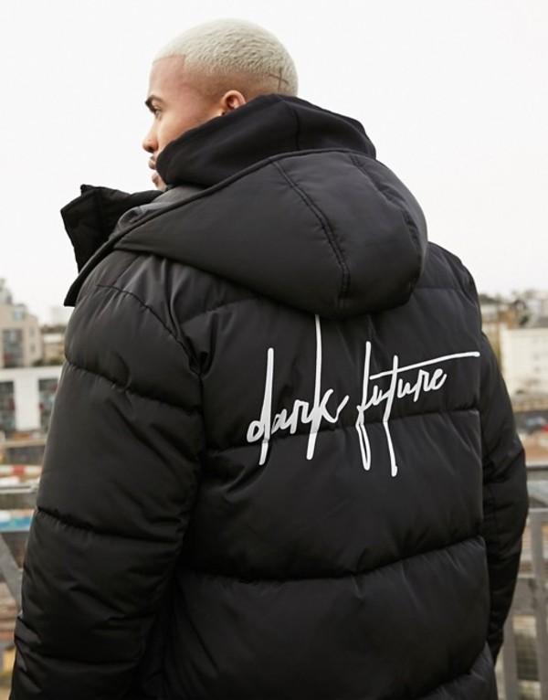 エイソス メンズ ジャケット・ブルゾン アウター ASOS DESIGN sustainable puffer jacket with dark future logo in black Black