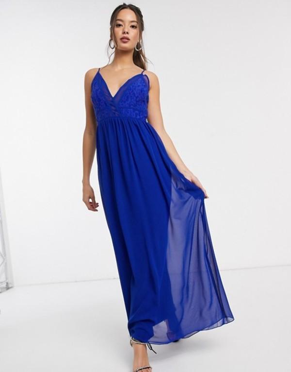 リトルミストレス レディース ワンピース トップス Little Mistress Sian maxi dress with lace bodice in cobalt Cobalt