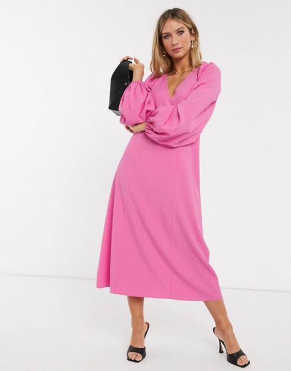 エイソス レディース ワンピース トップス ASOS DESIGN trapeze midi dress with lace up back in pink Pink