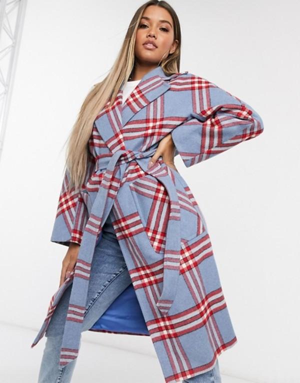 ヘレンベーマン レディース コート アウター Helene Berman belted coat in blue check Blue/red