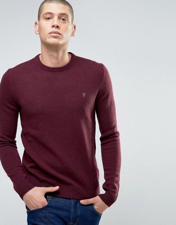 ファーラー メンズ ニット・セーター アウター Farah Rosecroft Crew Neck Logo Sweater Bdx bordeaux