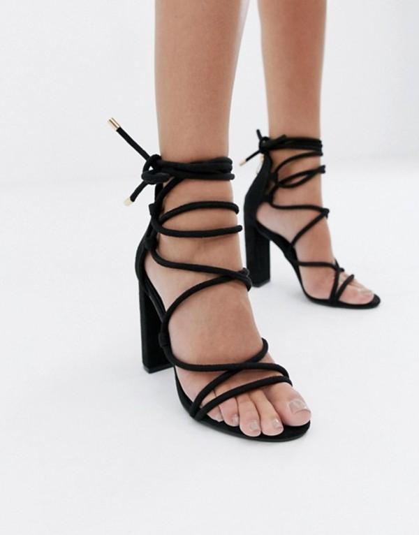 シミ レディース サンダル シューズ Simmi London Heidi black lace up block heeled sandals Black