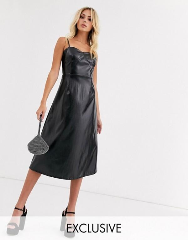 ワイルドハニー レディース ワンピース トップス Wild Honey a-line cami midi dress in faux leather Black