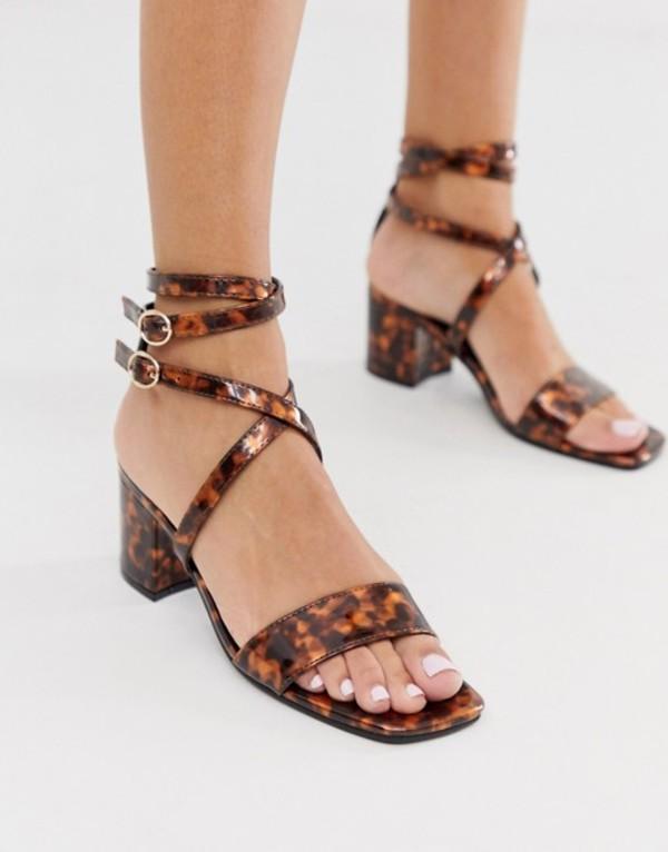 ロンドンレベル レディース サンダル シューズ London Rebel block heel strappy sandals in tortoise Tortoise