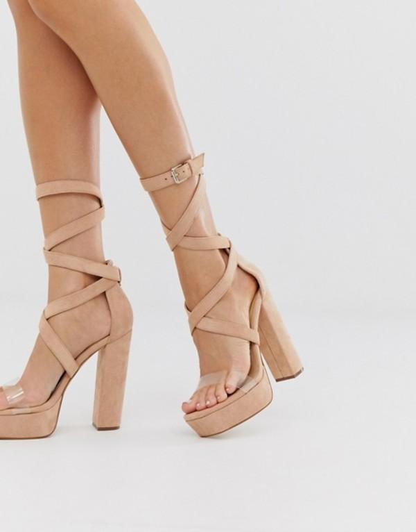 シミ レディース サンダル シューズ Simmi London Milly exclusive blush platform sandals with clear detail Blush micro
