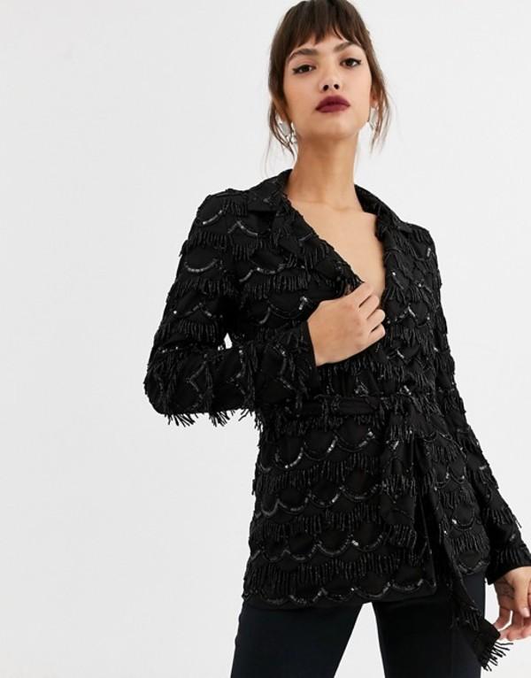 エイソス レディース ジャケット・ブルゾン アウター ASOS EDITION oversized blazer with scalloped beaded fringe Black