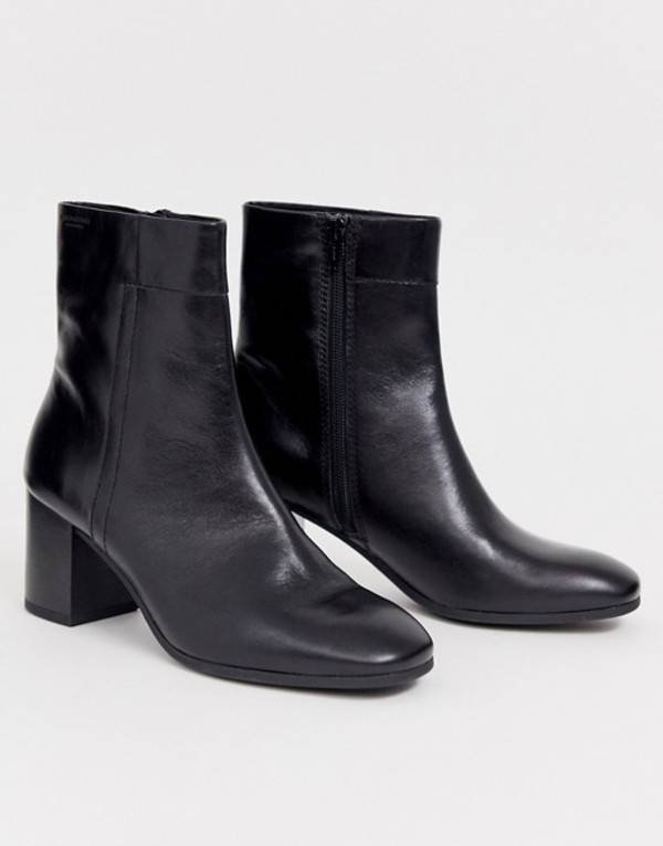 バガボンド レディース ブーツ・レインブーツ シューズ Vagabond Nicole black leather blocked mid heeled ankle boots with round toe Black leather
