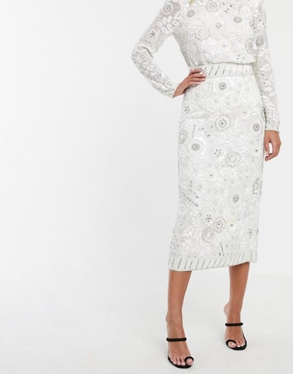 エイソス レディース スカート ボトムス ASOS EDITION floral embellished midi pencil skirt White