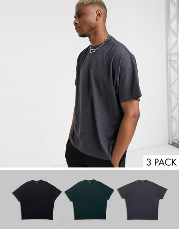 エイソス メンズ Tシャツ トップス ASOS DESIGN 3 pack oversized t-shirt with crew neck save Blk/charmarl/scarab