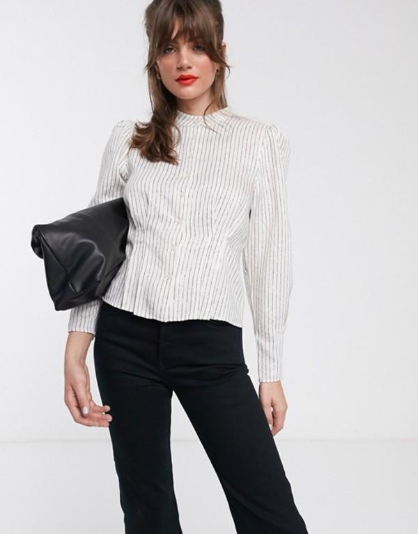 アンドアザーストーリーズ レディース シャツ トップス & Other Stories metallic stripe puff sleeve high-neck blouse in white White lurex