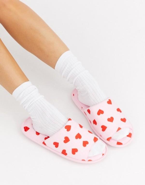 トリュフコレクション レディース サンダル シューズ Truffle Collection heart print slippers in pink Pink/red satin