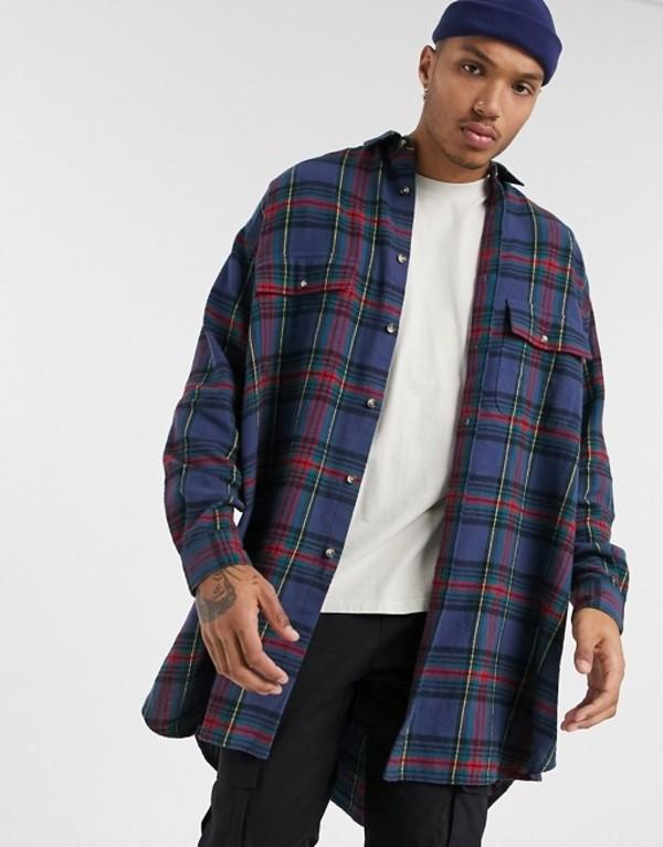 エイソス メンズ シャツ トップス ASOS DESIGN 90s oversized check shirt in plaid Blue