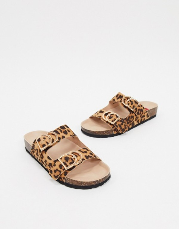 ロンドンレベル レディース サンダル シューズ London Rebel double buckle footbed sandal in leopard Leopard