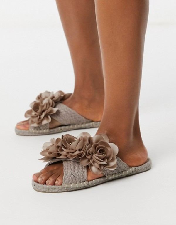 エイソス レディース サンダル シューズ ASOS DESIGN Jingle flower embellished espadrille mules in pink Pink