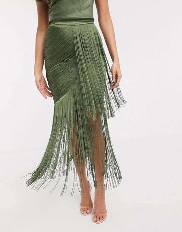 エイソス レディース スカート ボトムス ASOS DESIGN drape fringe maxi skirt two-piece in washed satin in khaki Khaki