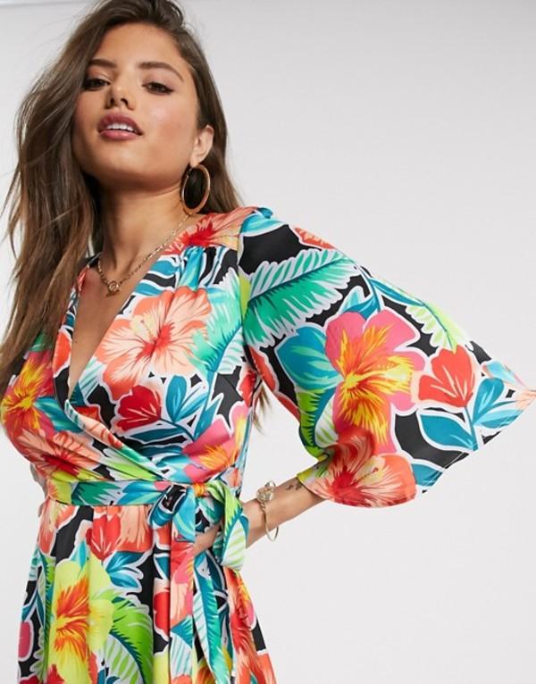 リクオリッシュ レディース ワンピース トップス Liquorish midi wrap dress in bright floral Multi