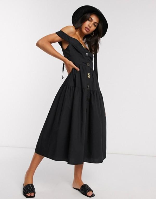 エイソス レディース ワンピース トップス ASOS DESIGN cotton poplin off shoulder midi sundress with mixed buttons in black Black