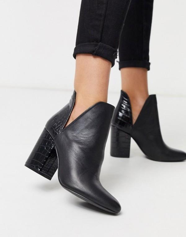 スティーブ マデン レディース ブーツ・レインブーツ シューズ Steve Madden heeled two part ankle boot in black leather Black multi
