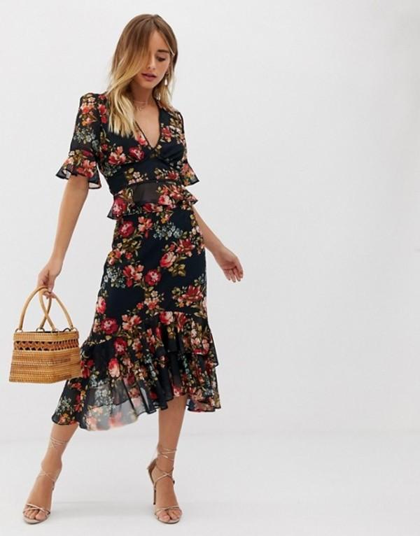 ホープ&アイビー レディース スカート ボトムス Hope & Ivy plunge front contrast print ruffle midi skirt in navy floral Multi