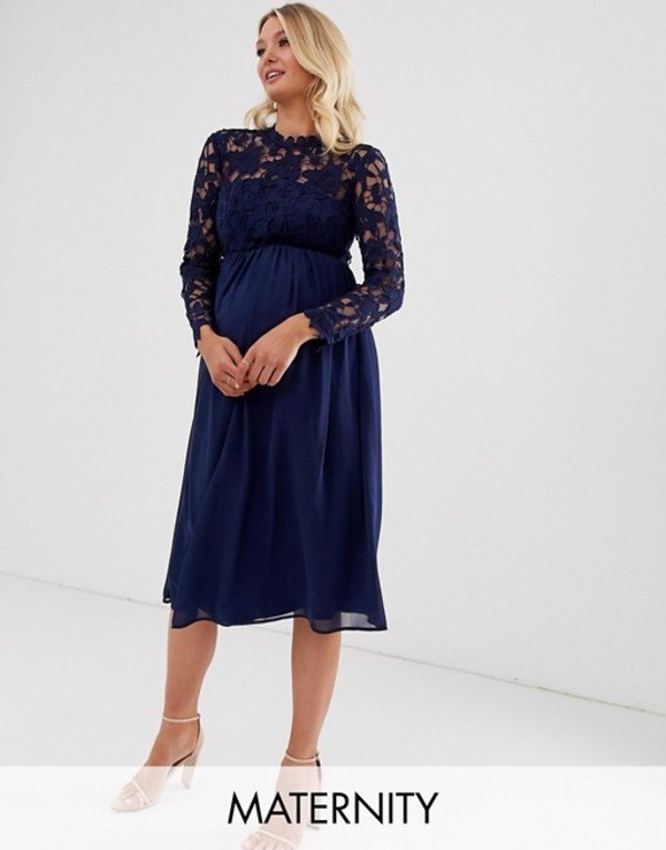 チチロンドン レディース ワンピース トップス Chi Chi London Maternity crochet lace midi dress with chiffon skirt in navy Navy