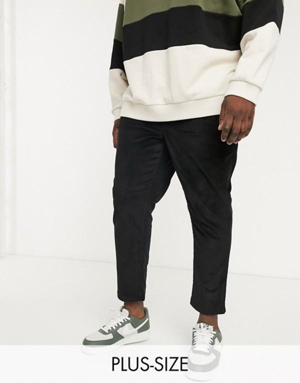 ニュールック メンズ カジュアルパンツ ボトムス New Look Plus pull on cord pants in black Black