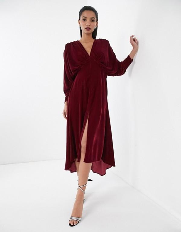 エイソス レディース ワンピース トップス ASOS EDITION ruched batwing dress in velvet Berry