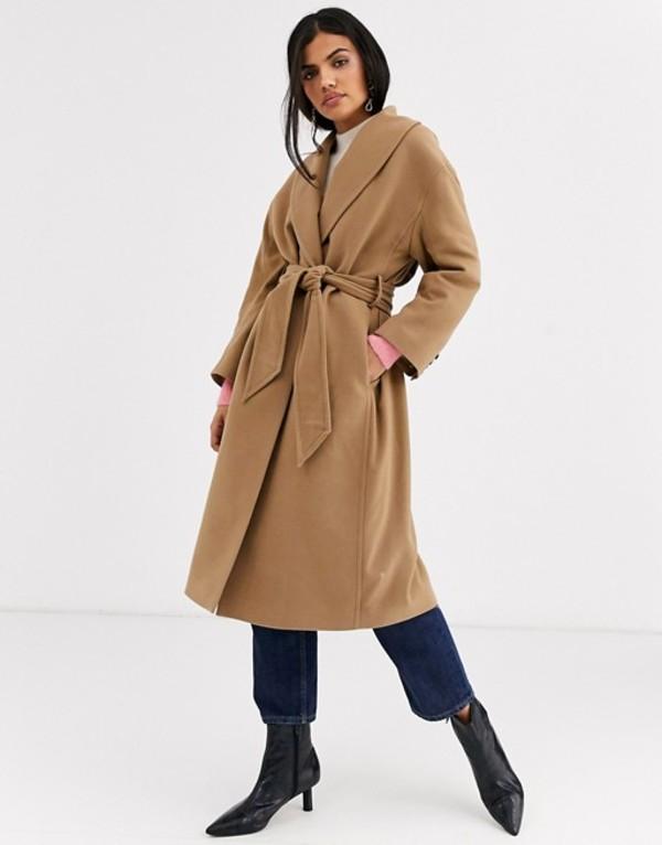 アンドアザーストーリーズ レディース コート アウター & Other Stories tie-waist wool coat in camel Tan brown