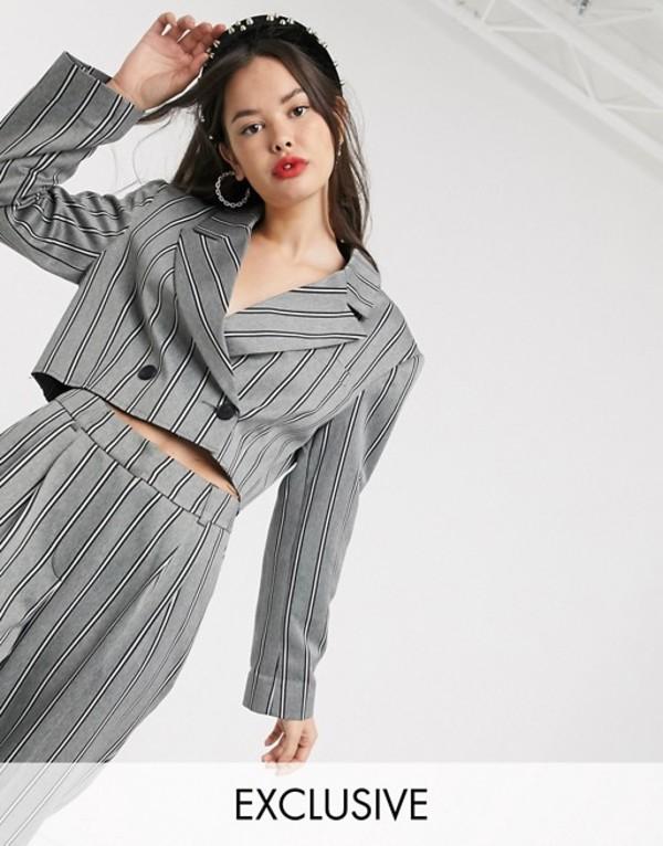 コルージョン レディース ジャケット・ブルゾン アウター COLLUSION cropped pinstripe blazer Gray