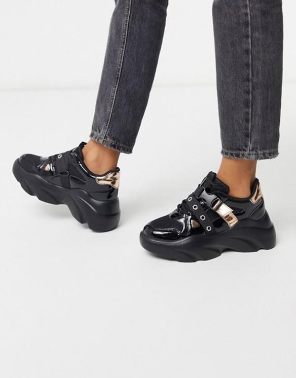 エイソス レディース スニーカー シューズ ASOS DESIGN Darcy chunky lace up sneakers in black Black/metallic