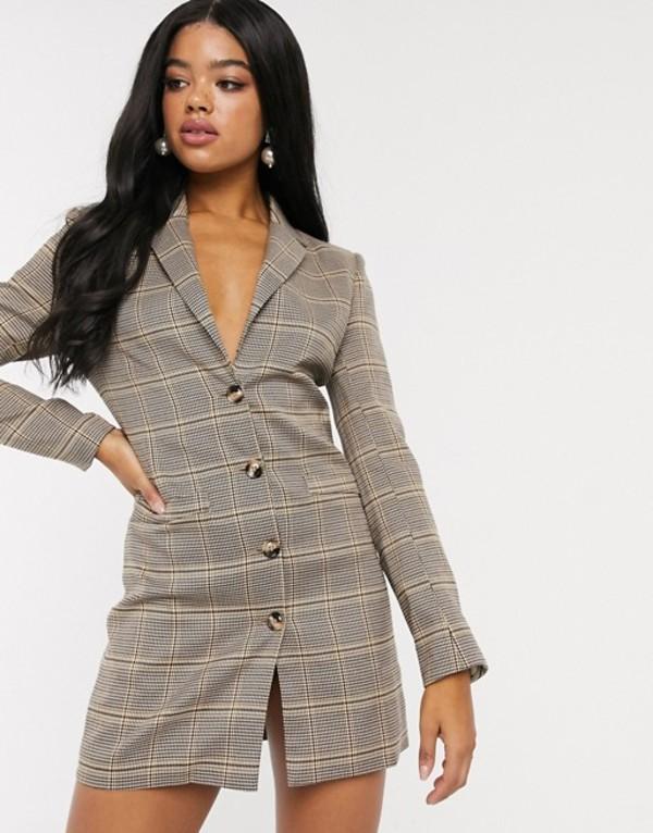 インザスタイル レディース ジャケット・ブルゾン アウター In The Style x Fashion Influx blazer dress in check print two-piece Check
