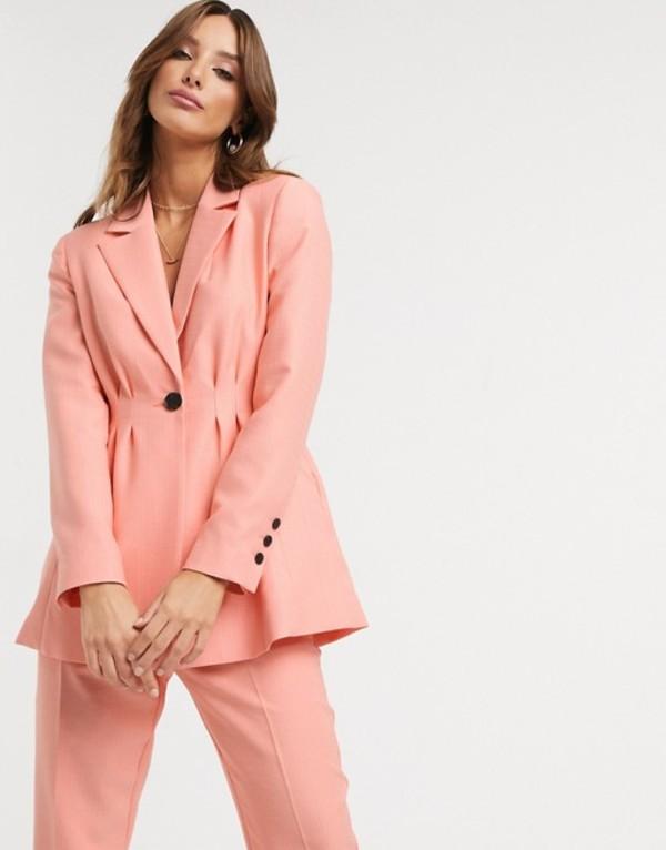エイソス レディース ジャケット・ブルゾン アウター ASOS DESIGN pleat waist suit blazer in peach Peach