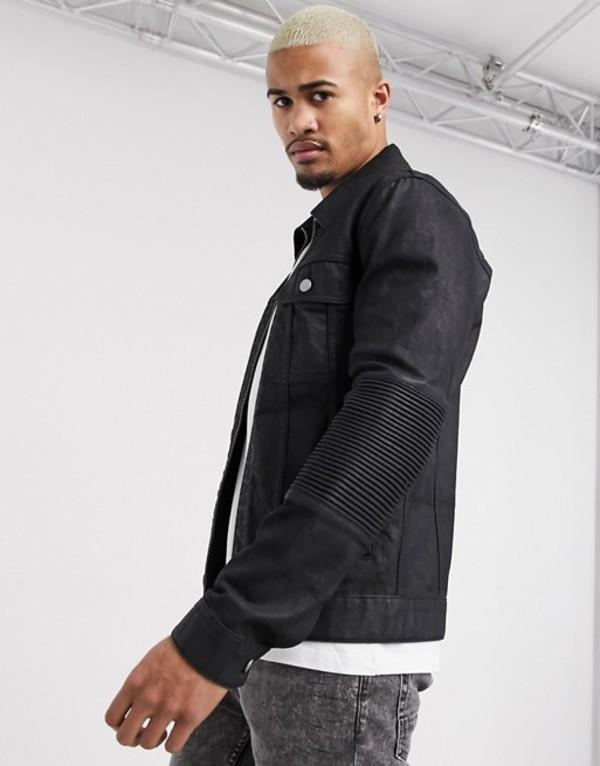 エイソス メンズ ジャケット・ブルゾン アウター ASOS DESIGN denim jacket with biker panels in black Black