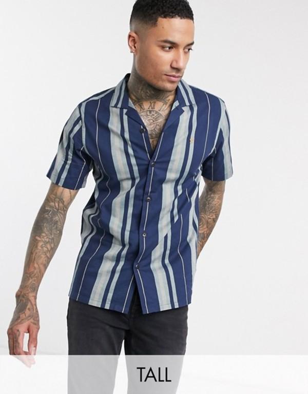ファーラー メンズ シャツ トップス Farah Laredo short sleeve stripe shirt in navy Yale