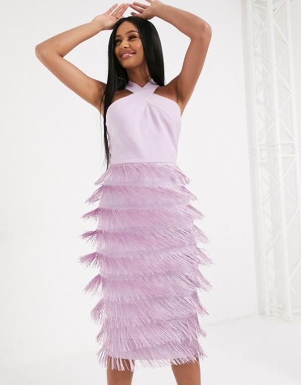 ラビッシュアリス レディース ワンピース トップス Lavish Alice halter neck fringe midi dress in lilac Lilac